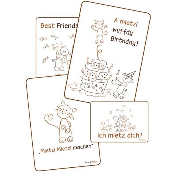 Postkarten von AntiKratzMax - mit Max und Mietz, den knuddeligen Vierbeinern des AntiKratzMax